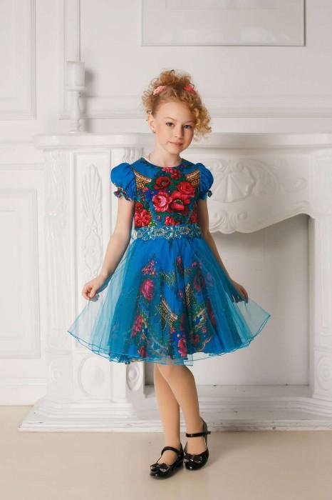 платье синее из павловопосадского платка